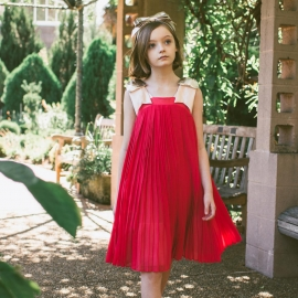 [brand] Pleated Trapeze Dress