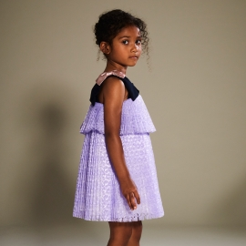 Tiered Pleated Trapeze Dress